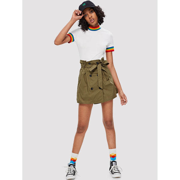 BUTTON FRONT KHAKI MINI SKIRT