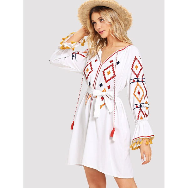 TASSEL EMBROIDERED BOHO DRESS
