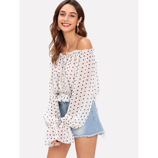 RUFFLE POLKA DOT OFF SHOULDER TOP