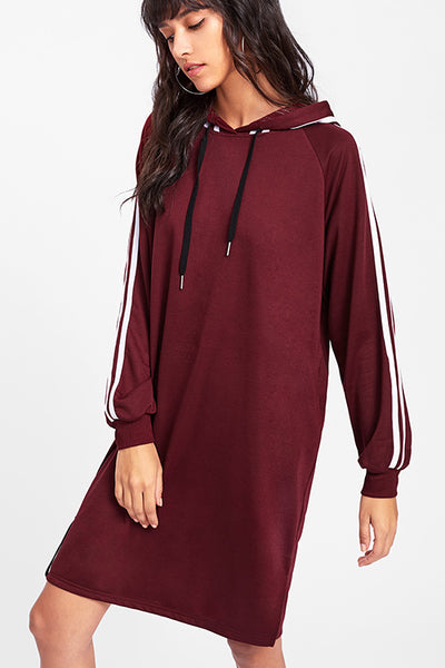 BURGUNDY STRIPES HOODED SWEAT DRESS