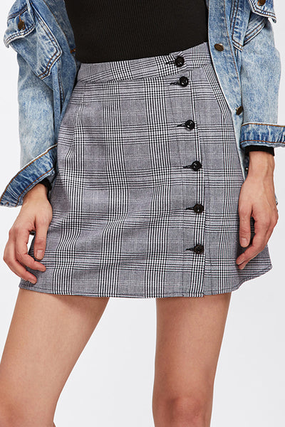 CHECKED BUTTONED WRAP SKIRT