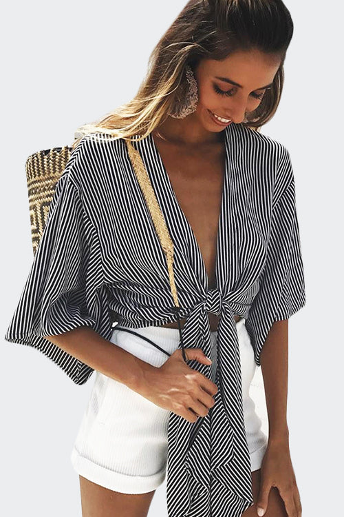 TIE BOW STRIPPED WIDE SLEEVE BLOUSE