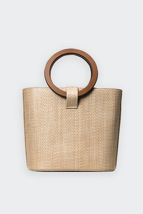 BEACH STRAW ROUND HANDLE TOTE BAG