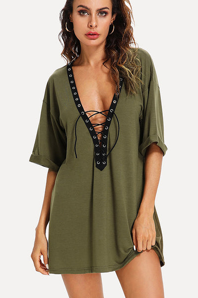 LACE UP T-SHIRT DRESS