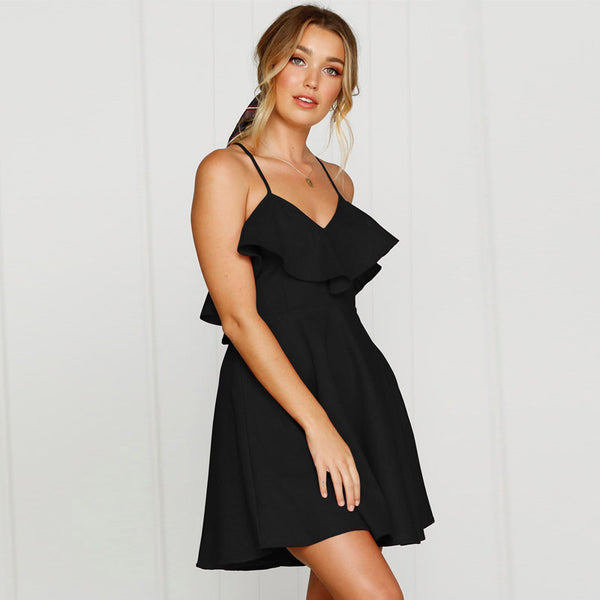 BLACK BACKLESS RUFFLE MINI DRESS