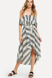 STRIPED OFF SHOULDER HEM DERSS