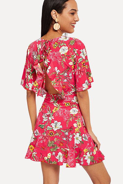 FLOWER PRINT BACKLESS DRESS