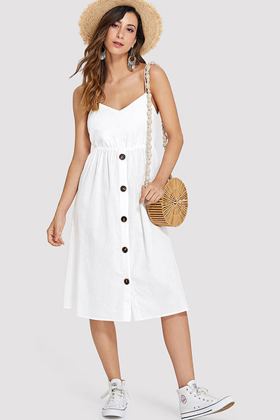 TIE BACK BUTTON CAMI DRESS