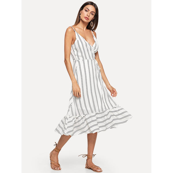 STRIPED RUFFLE HEM MIDI DRESS