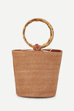 BAMBOO HANDLE BUCKET BAG