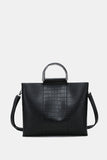 BLACK CIRCLE TOP HANDLE TOTE BAG