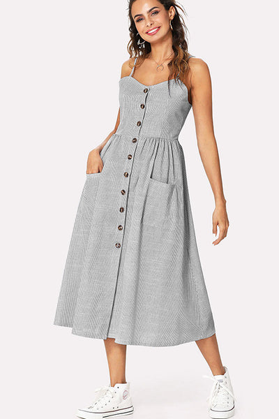 GREY STRIPED BUTTON FRONT MIDI DRESS