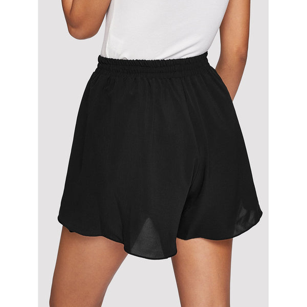 BLACK LAYERED HIGH WAIST SHORTS
