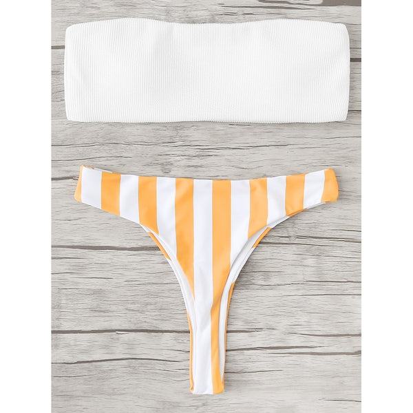 STRIPED BANDEAU BIKINI SET