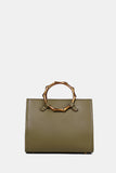 GREEN GENUINE LEATHER CIRCLE HANDLE TOTE