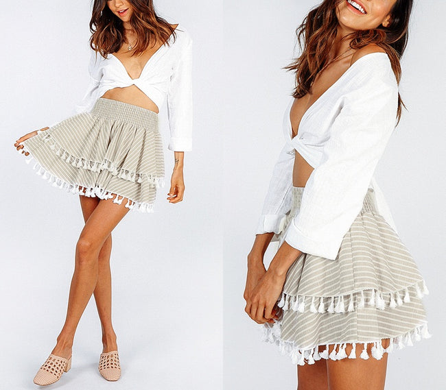 STRIPPED RUFFLE TASSEL MINI SKIRT