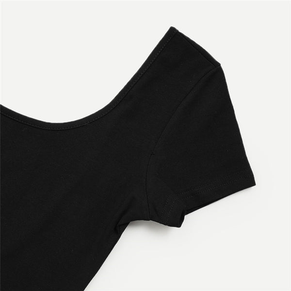BLACK SEXY BACKLESS BODYSUIT