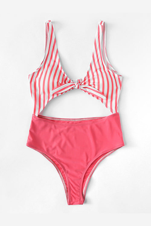 PINK FRONT KNOT CUT OUT SWIMSUIT