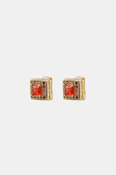 ORANGE STONE GOLD CUBE EARRINGS