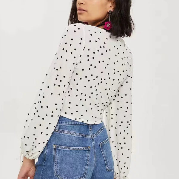 CROPPED POLKA DOT SUMMER BLOUSE