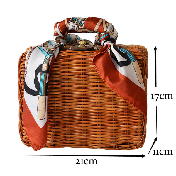 RETRO SCARF STRAW HANDBAG