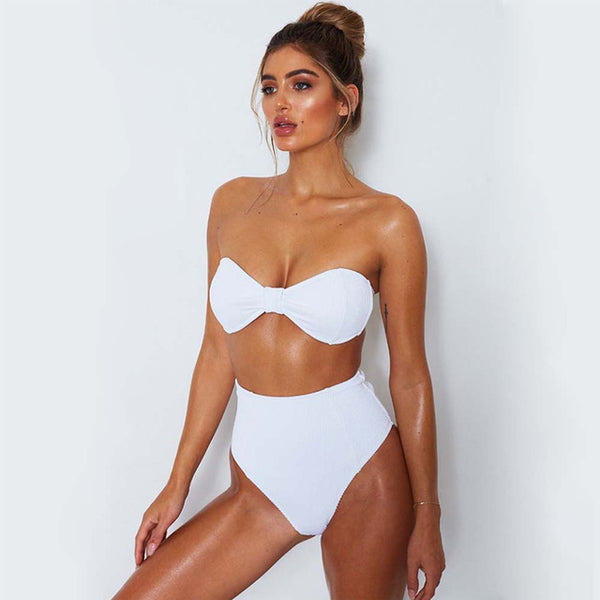 BANDEAU PUSH UP RETRO BIKINI SET