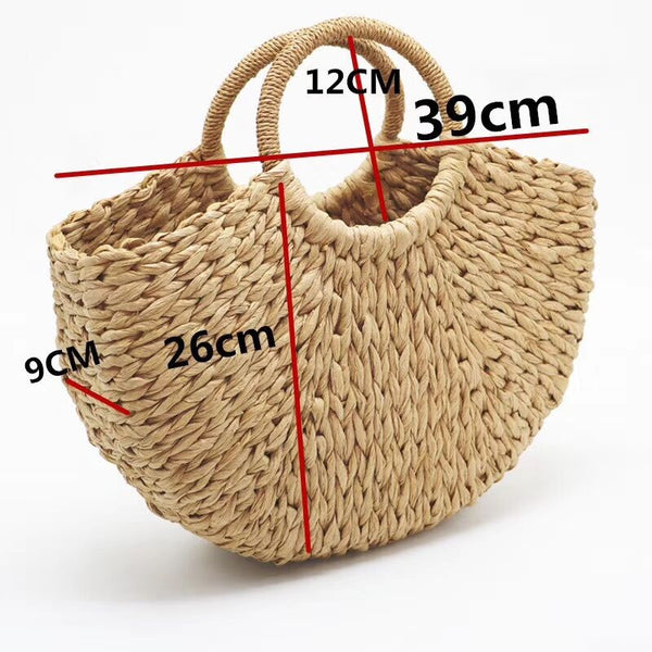 HANDMADE MOON SHAPED STRAW BAG