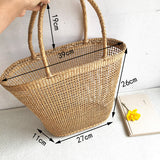 NET HOLLOW TEXTURED WOVEN TOTE BAG