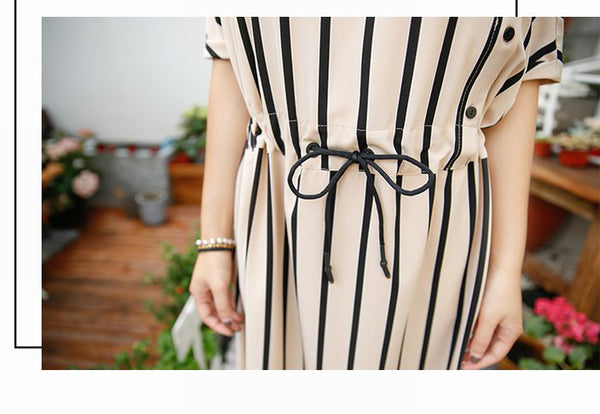 WAIST TIE STRIPED DRESS