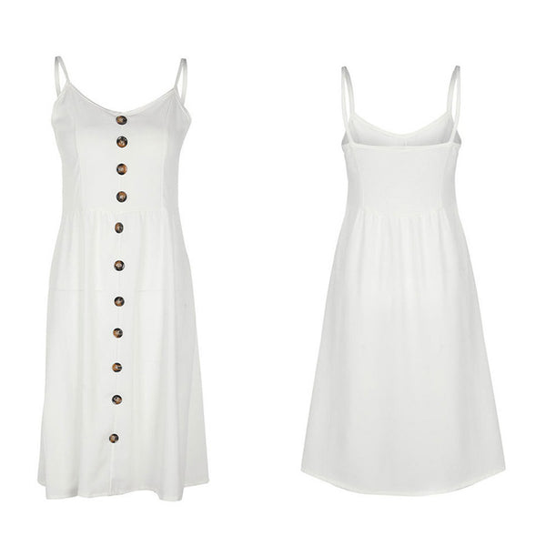 WHITE BUTTON FRONT SUMMER MIDI DRESS