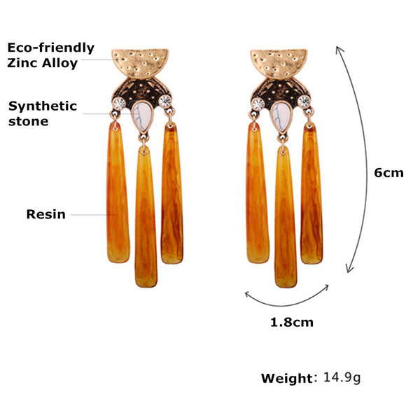 BROWN RAISING RETRO EARRINGS