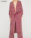 STRIPED LONG WRAP DRESS / BLOUSE