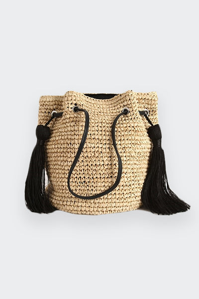 TASSEL STRAW WOVEN BUCKET BAG