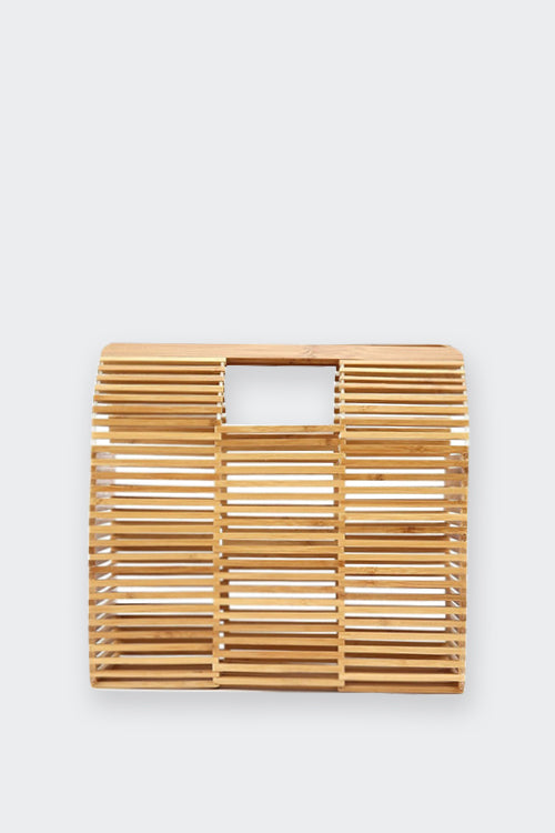SQUARE BAMBOO STRAW TOTE BAG