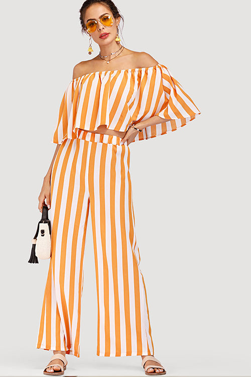 OFF SHOULDER TOP & WIDE LEG STRIPED PANTS SET