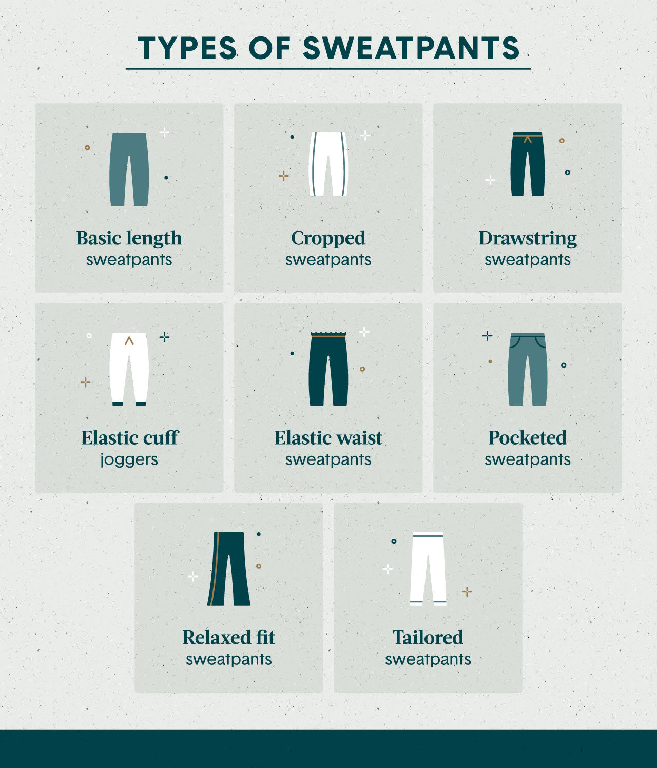 8 illustrations depicting different types of sweatpants including cropped drawstring and tailored sweatpants