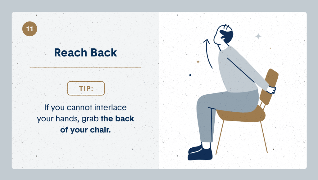 Illustration of a senior practicing desk stretches by sitting on his chair reaching backwards