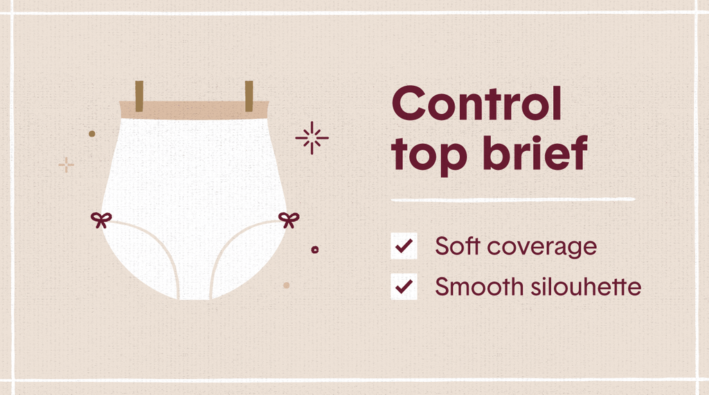 White illustration of a control top brief style of womens underwear