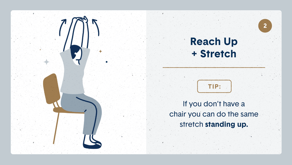 Illustration of a women practicing desk stretches by sitting on her chair and reaching her arms up above her head