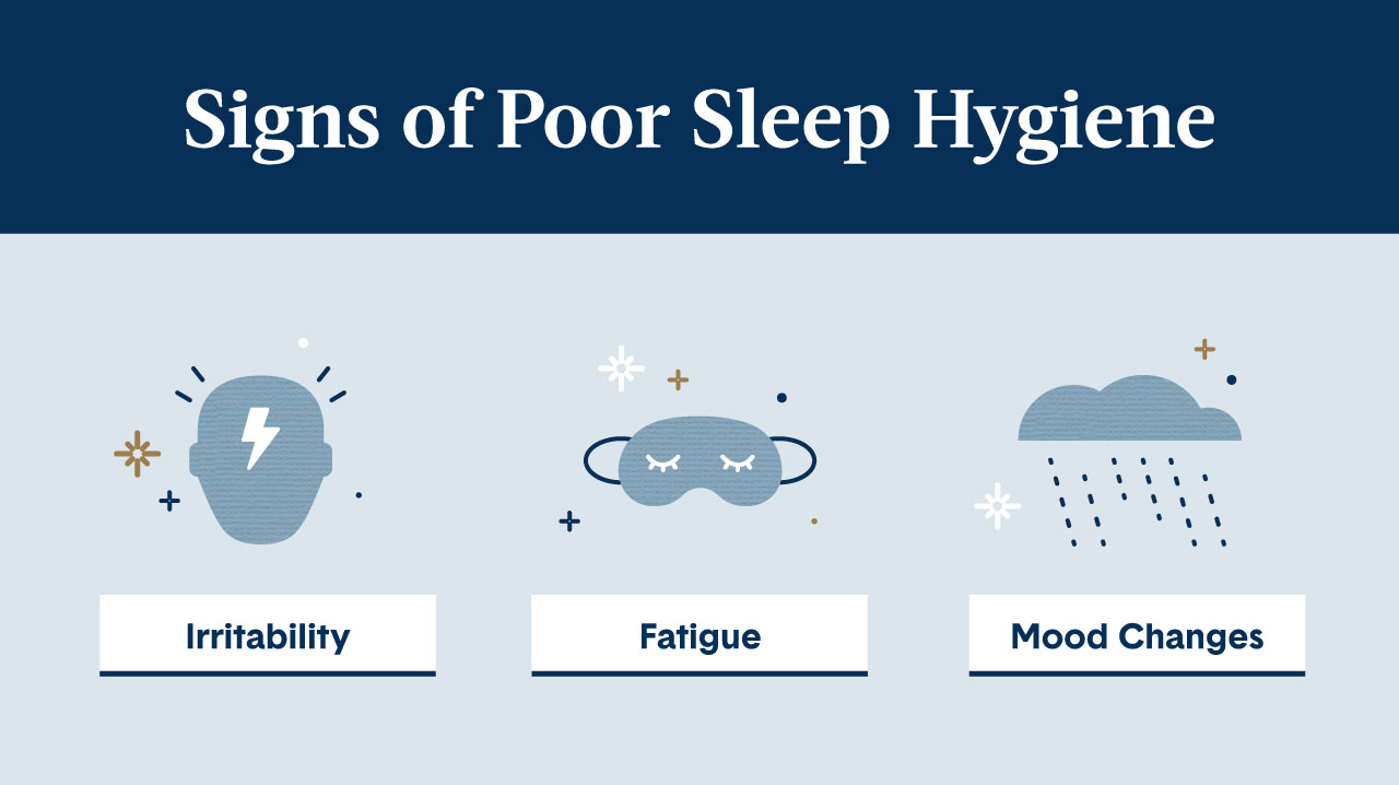 Dark and light blue image offering 3 signs of poor sleep hygiene via illustrations