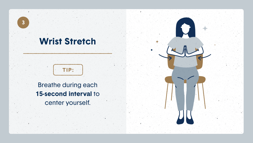 Illustration of a women practicing desk stretches by sitting on her chair and pressing her palms together