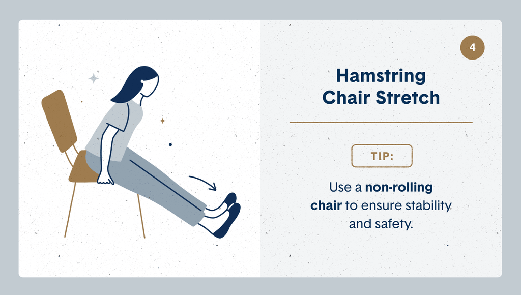 Illustration of a women practicing desk stretches by sitting on her chair and leaning forward