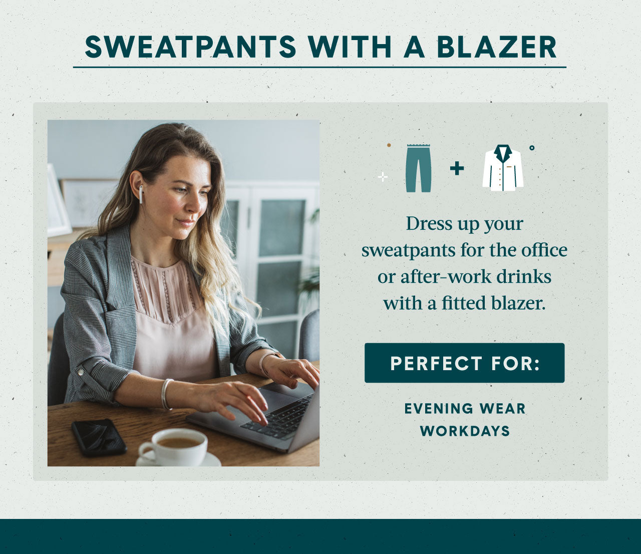 Women sitting at her desk working and wearing a blazer and work attire clothing with her sweatpants