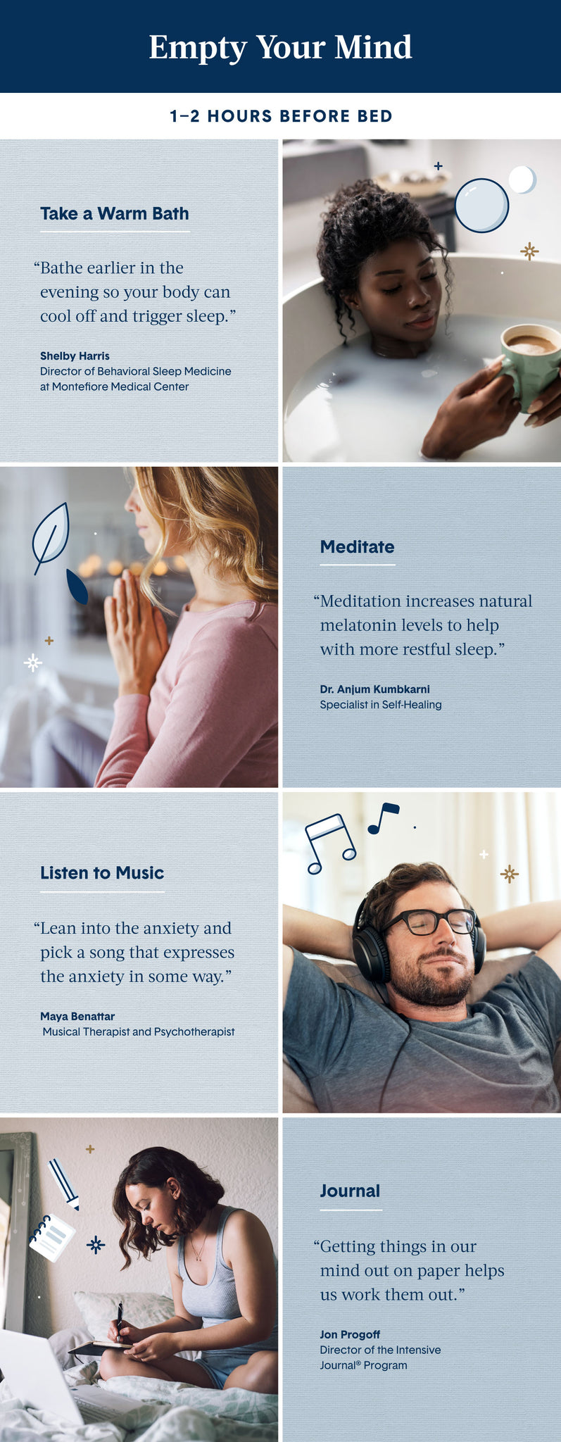 8 grid layout images of people relaxing before bed and blue boxes offering tips on how to empty your mind