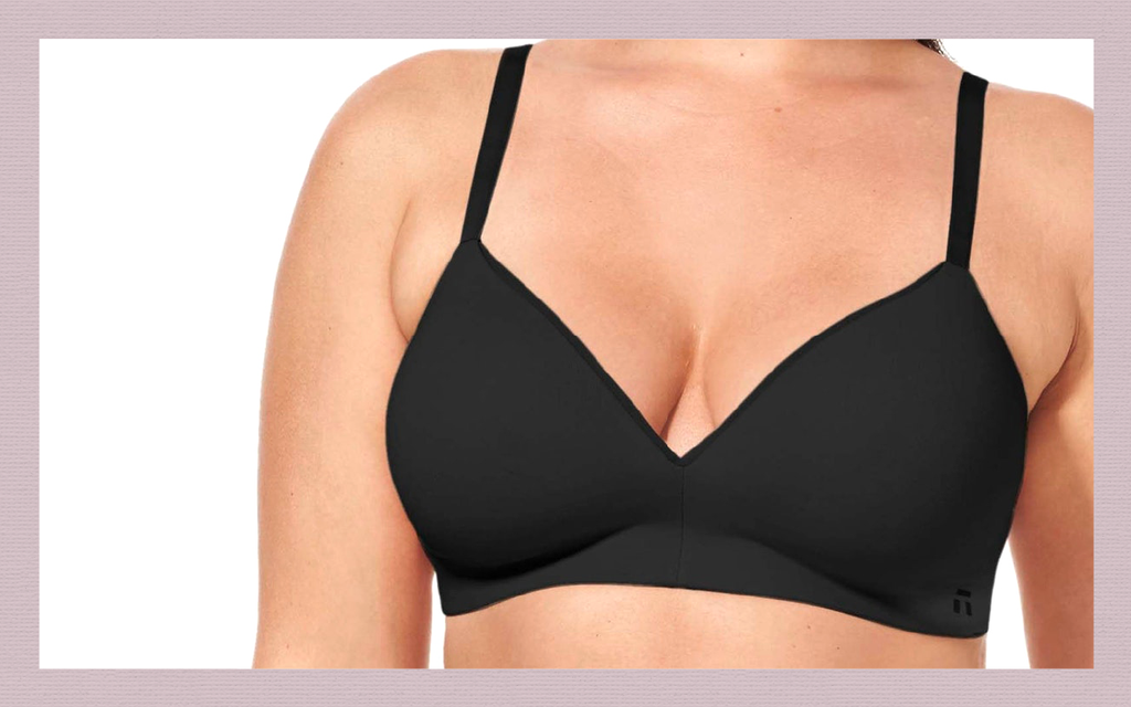 Closeup of a model wearing one of Tommy John's Cool Cotton bra representing one of the best bras for sleeping in