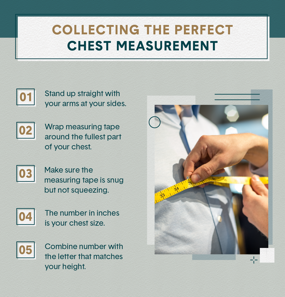 5 steps telling readers how to measure chest size as well as an image of a person checking the measurement of a man's chest