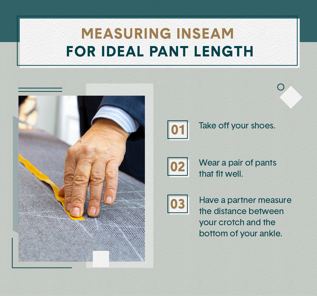 Green visual listing three steps to measuring the inseam of pants as well as a close up of a man's hand measuring it