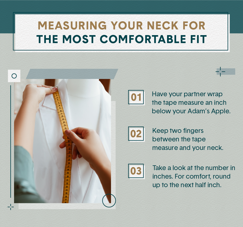 Woman wearing a sage green shirt illustrating how to measure neck size by wrapping a soft tape around the neck of a mannequin