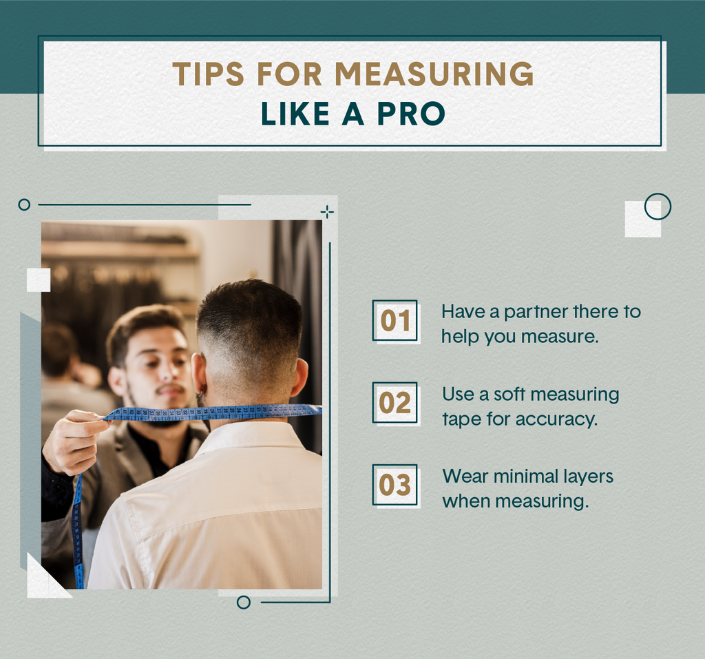 Left Image of one man wearing a suit illustrating how to take measurements of another man wearing a button-down shirt