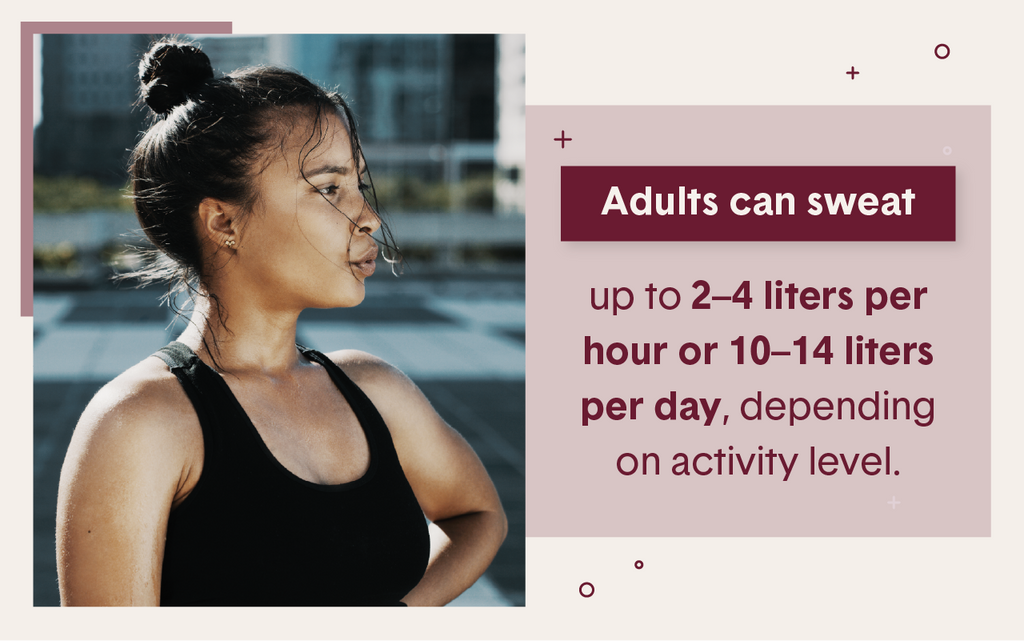 Dark haired and skinned women breathing heavily after a workout demonstrating that adults can sweat up to 2-4 liters per hours